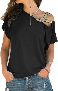 Hokny TD Womens Solid Short Sleeve Cold Shoulder Shirt Blouse Tee Tops