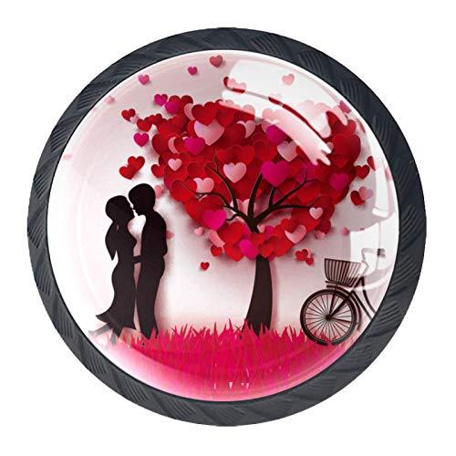 Pomelli rotondi per porte in vetro, 4 pezzi, con viti, rosso, rosa, albero della bicicletta, San Valentino