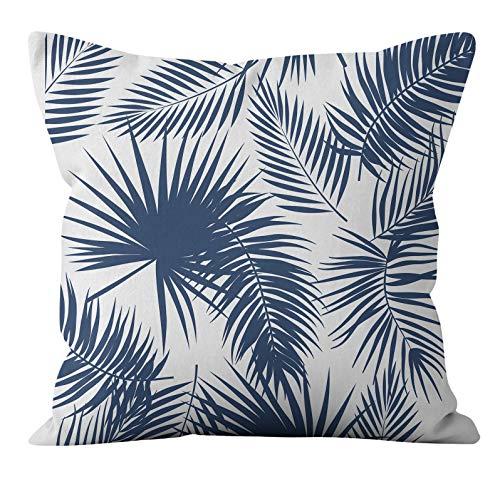 PPMP Funda de cojín de Flora Retro Azul Verde Lino geométrico sofá Funda de Almohada Dormitorio decoración del hogar Funda de cojín A26 45x45cm 2pcs
