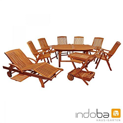IND-70041-SFSE9SLSW Gartenmöbel Set Sun Flair, Garten Garnitur Sitzgruppe aus Holz - 9-teilig - ausziehbarer Tisch + 6 x Stuhl + Sonnenliege + Servierwagen