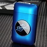 電子ライター付きシガレットケース、シガレットライター付きシガレットケース19個、ポータブルUSB充電式無炎防風ライター,C