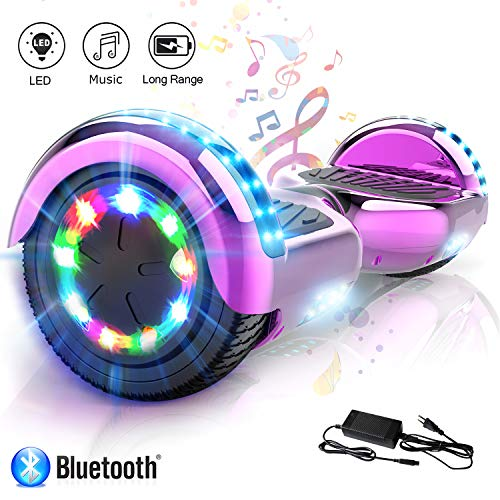 COLORWAY 6,5 Zoll Hover Scooter Board Hoverboard Elektro Scooter Smart Scooter Self Balance Board - Bluetooth - LED Lichter - EU Sicherheitsstandards (Rose)