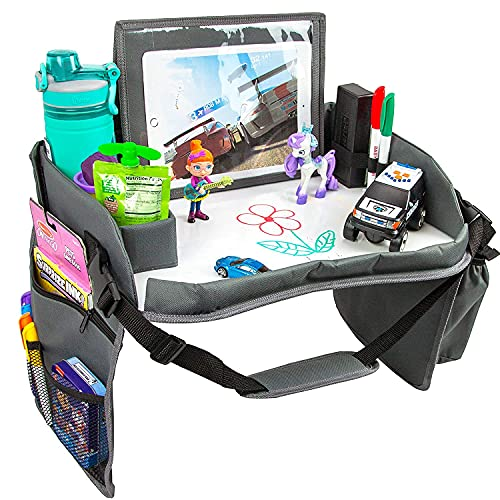 Kids Travel Tray with Dry Erase Board, Travel Tray for Kids Car Seat, Carseat Table Trays for Toddler, Kid Activity Desk for Air Travel, No-Drop Tablet Holder & Borders (All Grey)