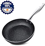 Frying Pan 20cm, Stone-Derived Nonstick Coating Omelette Pan, Stainless Steel Handle Skillets, Oven Safe, Granite/Gift Box Included-SKYLIGHT