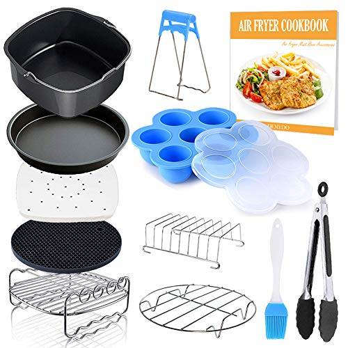 Square Air Fryer Accessories 11 pcs with Recipe Cookbook Compatible for Philips Air Fryer, COSORI and other Square AirFryers and Oven, Deluxe Deep Fryer Accessories Set of 12 (8 inch)