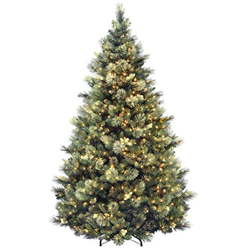 National Tree Company Pre-lit Artificial Christmas Tree | Includes Pre-strung White Lights and Stand | Flocked with Cones | Carolina Pine - 7.5 ft