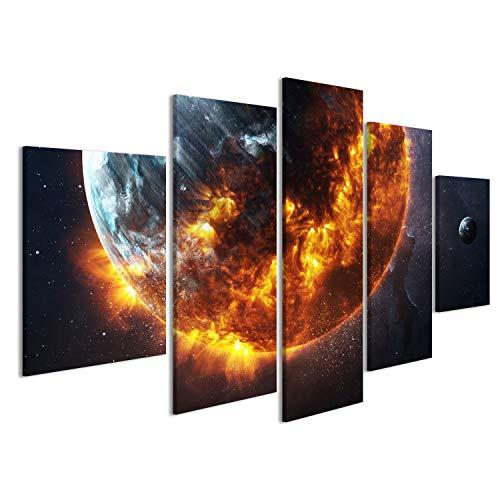 islandburner Bild auf Leinwand Wandbild Leinwandbild Bilder Poster spektakuläre Apokalypse - brennende und explodierende Planeten Weltraum Wandbild, Poster, Leinwandbild