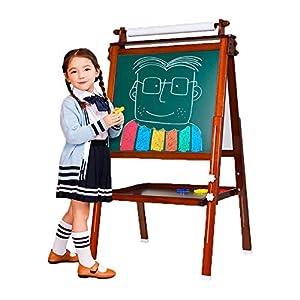 Arkmiido 3 en 1 Caballete de Madera para niños Tablero de Dibujo magnético de Doble Cara Pizarra con Eje de Dibujo y Rollo de Papel, Magnéticos de bonificación, Números, Copas de Pintura (marrón)