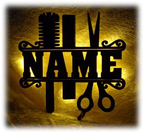 Schlummerlicht24 Led Holz Möbel Deko Friseurin Geschenk Salon Schere Lampe Nachtlicht lustige witzige lustige Haarschneide Frauengeschenke mit Name
