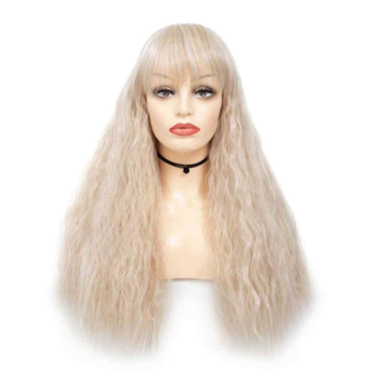 有効オートマトンできるZXF ファッション女性の混色トウモロコシ熱い毛髪のかつらチー劉Haizhongロングロールふわふわフード 美しい