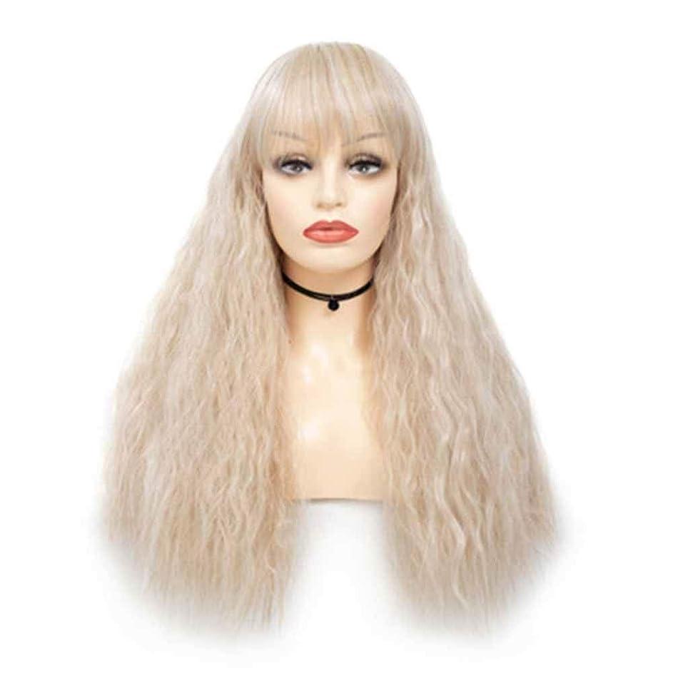 分割価格ファックスZXF ファッション女性の混色トウモロコシ熱い毛髪のかつらチー劉Haizhongロングロールふわふわフード 美しい