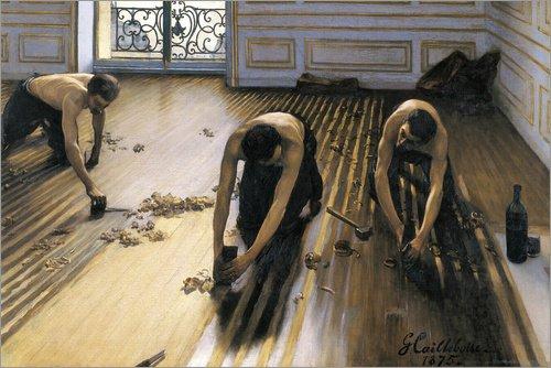 Poster 91 x 61 cm: Die Parkettschleifer von Gustave Caillebotte - hochwertiger Kunstdruck, neues Kunstposter