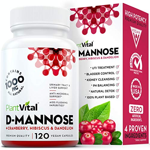 New! D-Mannose 1000mg w Cranberry [HIGH Potency] Urinary Tract Treatment, Bladder Control, Kidney Cleanse & UTI Support. 100% Natural Detox. Plus Hibiscus & Dandelion. 2 Months Supply