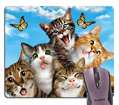 Knseva Funny Cats Selfie Mouse Pad, Cute Kitten Butterfly Blue Sky Mouse Pads