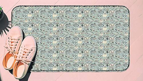 DIIRCYB Door Mat Indoor Outdoor Non-Slip Washable Doormat,Summer Good Mood Illustration with Flowers Bicycle Backpack and Food,DIY Cropping Rug,for Home Kitchen Bedroom Bathroom Floor Carpet17.5 X 29