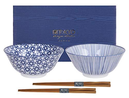 Tokyo Design Studio, Nippon Blue, Juego con 2cuencos y 2palillos, 4piezas, diámetro 15.2cm, porcelana de Japón