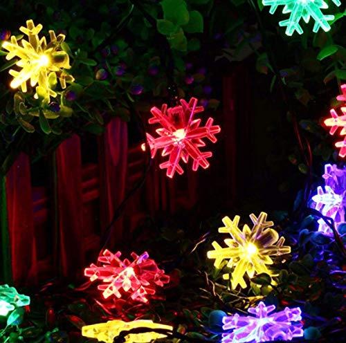 LED Solar Snowflake Light String Decoration Landscape Outdoor Waterproof Garden Light Romantic Color 7 Meters 50 Lights