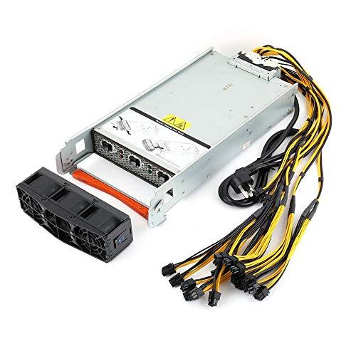 Triamisu Fuente de alimentación de arnés de 2880 vatios PSU + 2x10 PCI-E para Dos (x2) Antminer S9 / S7 / L3 + con arnés Listo para enchufar - Plateado
