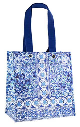 Lilly Pulitzer Blue Market Shopper Bag, Reusable Grocery Tote with Comfortable Shoulder Straps, High Manetenance