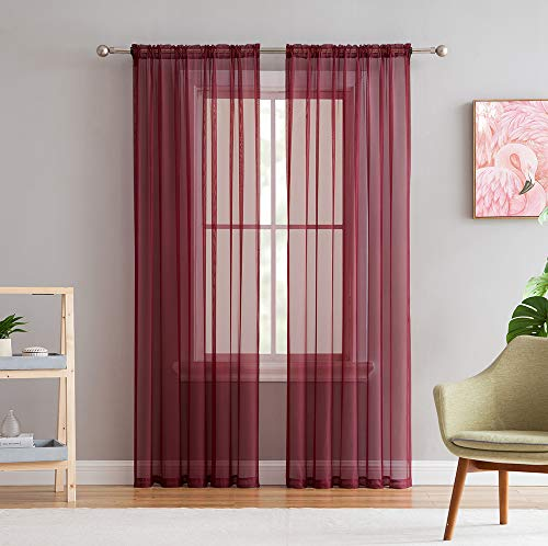 HLCME Burgundy 2 Pack 55 inch by 84 inch Window Curtain Sheer Panels