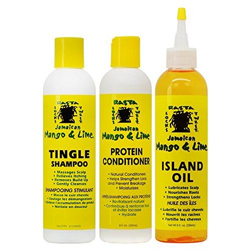 Jamaican Mango & Lime Tingle Shampoo & Protein Conditioner + Island Oil 8 oz (Set)