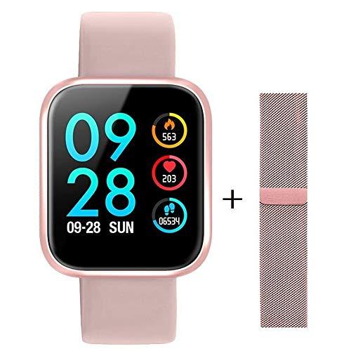 Relógio Inteligente Smartwatch P80 Original Touch Screen Rosa + Pulseira Milanese Magnética +