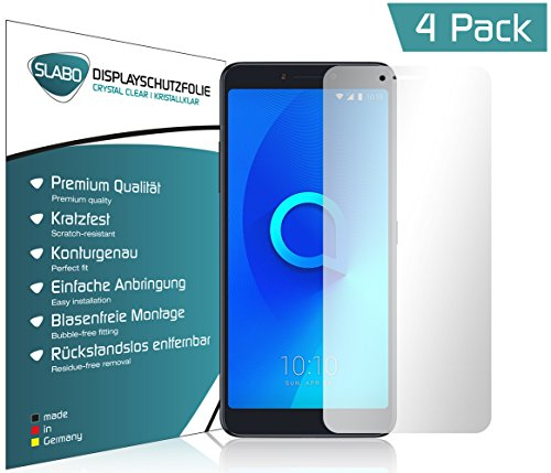 Slabo 4 x Bildschirmschutzfolie für Alcatel 3V Bildschirmfolie Schutzfolie Folie Zubehör Crystal Clear KLAR