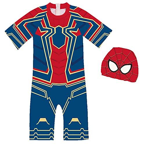 XNheadPS Costume de natación niños Spiderman, Todo en uno con Tapa, Trajes baño para niños, protección contra UV, Verano, Traje Neopreno rápido Vacaciones la Playa,Blue-Kid 100cm
