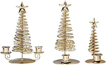 SOIMISS 3Pcs Xmas Tree Candle Titulares Castiçais de Metal Enfeites De Mesa de Natal Xmas Carrinhos Da Vela para O Casa Sa...