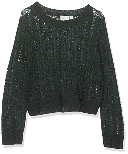 NAME IT Mädchen NKFLIVIA LS Short Knit Pullover, Grün (Green Gables Green Gables), 122 (Herstellergröße: 122-128)
