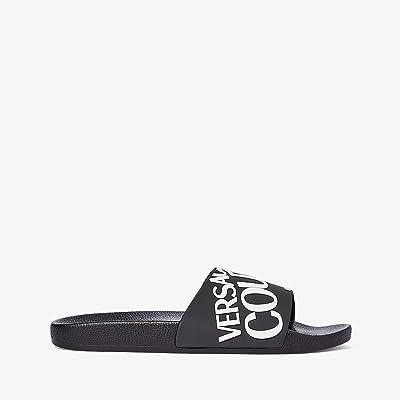 Versace Jeans Couture Logo Slide Sandal (Black/White) Men