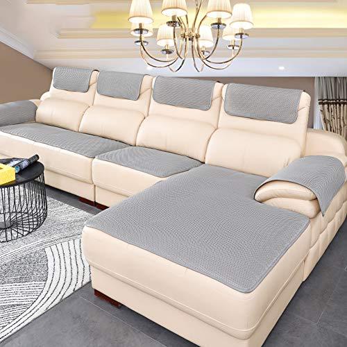 BK&MF Sofa Abdeckung Für Ledercouch, Super rutschfeste Sofa Dämpfung Couch überwurf Für Haustiere, Sofa Möbel Protector Separat Erhältlich-grau 60x60cm(24x24inch)