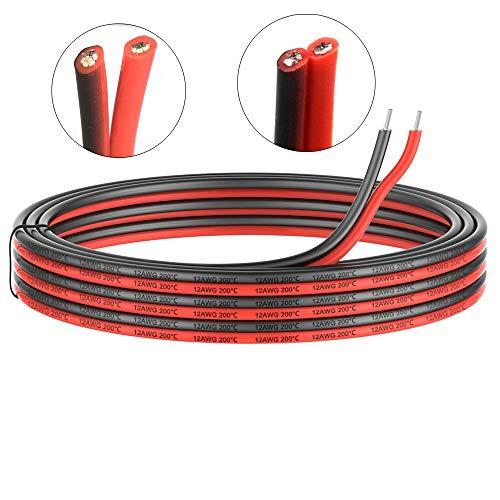 3.3mm² 12 AWG Silikon Elektrischer Draht Kabel anschließen 10 Meter [5 Meter schwarz und 5 Meter rot] Weich und flexibel aus verzinntem Kupferdraht Hohe Temperaturbeständigkeit 200 Celsius 600V