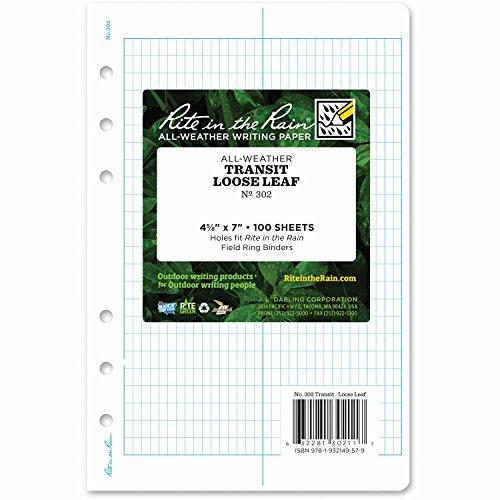 "Rite In The Rain Weatherproof Loose Leaf Paper, 4 5/8"" x 7"", 32# White, Transit Pattern, 100 Sheet Pack (No. 302)"