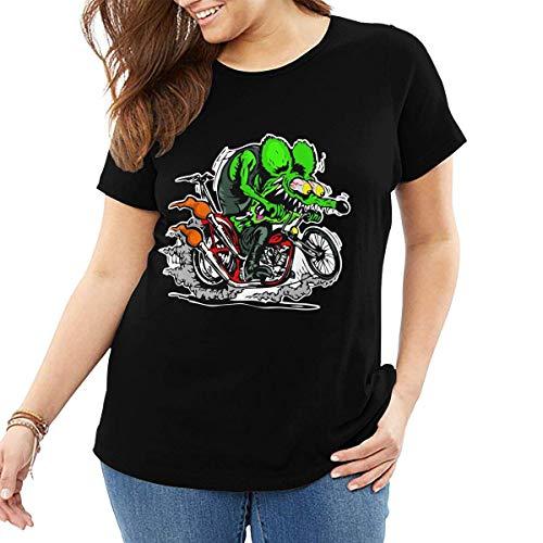 wusond Camiseta para Mujer con diseño de Rat Fink, Camisetas de algodón, Camisetas Casuales, Ropa de Calle, Camiseta de Talla Grande
