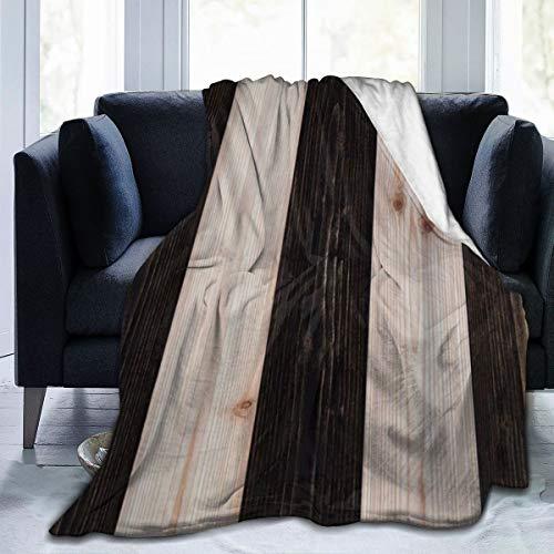 RUBEITA Ultraweiche Micro Fleece Decke,Rustikale Holzdielen aus Holz drucken Landhausstil im Grunge-Look,Home Decor Warmwurfdecke für Couchbett,50