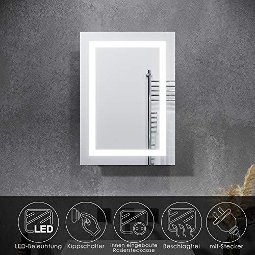 SONNI Spiegelschrank mit Beleuchtung, Rasierersteckdose und Schiebetür/BadezimmerSpiegelschrank/Bad Spiegelschrank mit Steckdose und Kippschalter 50 x 70 cm