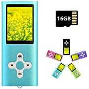 MP3 Player MP4 Player with a 16GB Micro SD Card, Runying Portable Music Player Support up to 64GB, Mini USB Port 1.8 LCD, with Photo Viewer, E-Book Reader, Voice Recorder & FM Radio Video(Blue)