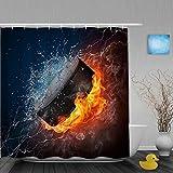 Haoerwu Personalisierter Duschvorhang,EIS & Feuer Hockey,wasserabweisender Badvorhang für das Badezimmer 180 x 180 cm