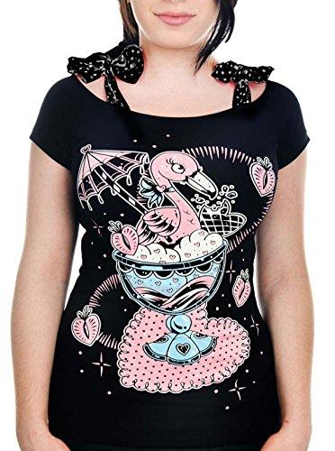 Banjo & Cake Damen Oberteil Flamingo Sundae Annabel Shirt Schwarz S