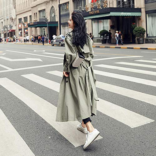 LYHOMEAN WOMENS TRENCH COAT WINDBREAKER CASUAL LOOSE WOMEN`S OVER THE KNEE COAT FLUFFY COATS FOR WOMEN COATS (COLOR : GREEN SIZE : S)