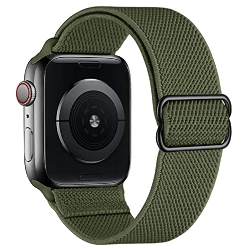 Correa de nailon elástica compatible con Apple Watch serie SE 1 2 3 4 5 6 correa de repuesto ajustable deportiva transpirable para iWatch 38 mm 40 mm 42 mm 44 mm unisex, 42mm/44mm, Poliéster,