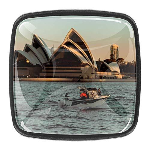 Inhomer 4 Packs Drawer Knob Sydney Opera House Crystal Glass Kitchen Cabinet Pull Handle Home Decor for Dresser Cupboard Wardrobe