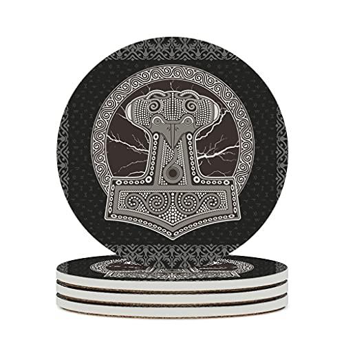 Perstonnoli Wikinger Runen Odin Hammer Untersetzer Rund Keramik Glasuntersetzer mit Korkboden 4er Set Dekorative Untersetzer für Glas Tassen Vasen Kerzen 10cm White 4pcs
