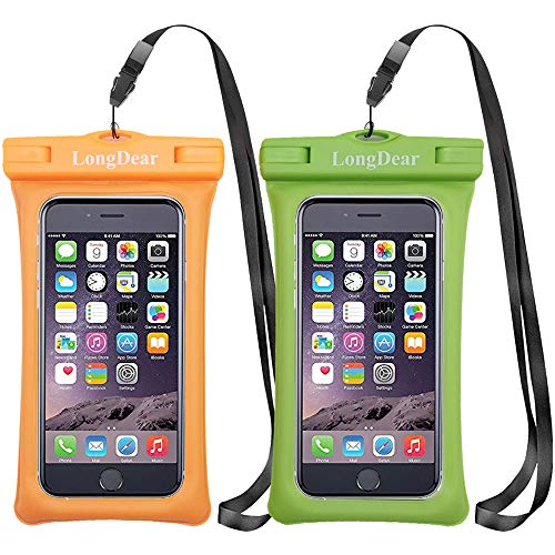 LongDear Universal Floating Waterproof Case,Cell Phone Pouch Dry Bag for iPhone 12 Pro Max 11 Pro Max Xs Max/Xr/X/8/8plus/7/7plus Galaxy s9/s8 Note 9/8 Google Pixel up to 7.0 (Orange & Green)