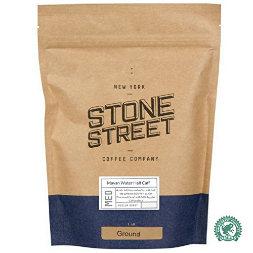 HALF CAFF Ground Coffee | 1 LB Bag | Swiss Water Processed Chemical Free Decaffeination |Blend of 50% Decaf/50% Regular Caffeine | Low Acidity, Smoot