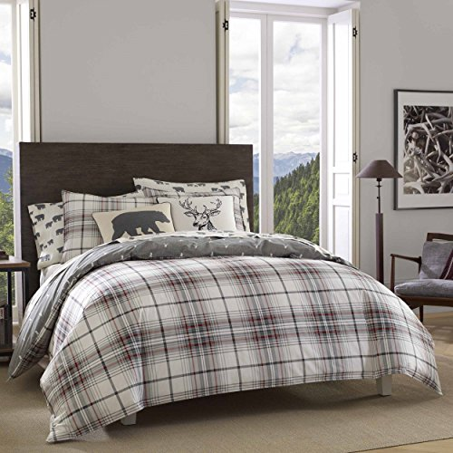 Eddie Bauer | Alder Collection | 100% Cotton Soft and Cozy Premium Quality Reversible Plaid Duvet Cover with Matching Shams, 3-Piece Bedding Set, Full/Queen, Charcoal