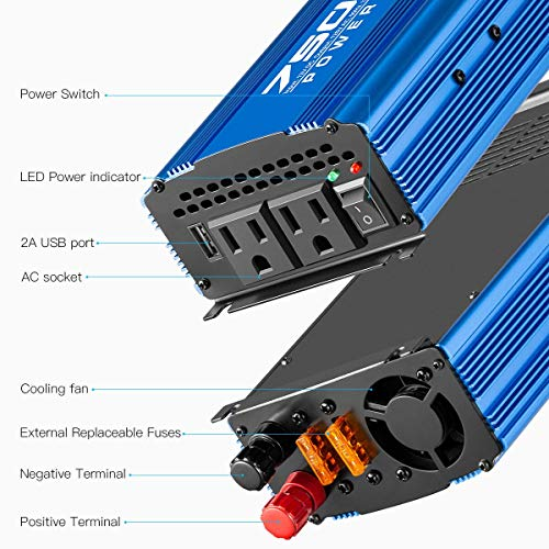 Kinverch 750W Continuous/1500W Peak Power Inverter DC 12V to 110V Car Converter AC with 2 AC Outlets and 2A USB Charging Port
