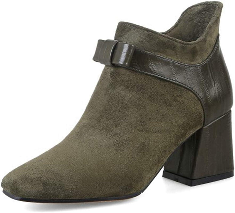 GIY Womens Block Heel Ankle Boots Piont Toe Side Zipper Slip on Casual Ladies Walking Short Bootie