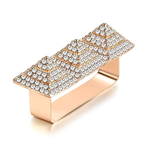 Punk Alloy Pyramid Ring Rhinestone Hip Hop Rapper Ring Jewelry for Costume Party, Three Finger Size (Gold)
